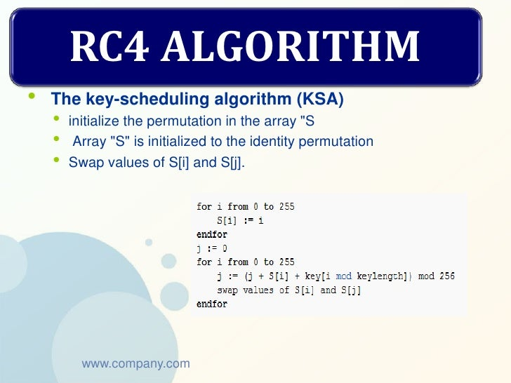 """RC4 ALGORITHM•   The key-scheduling algorithm (KSA)    •   initialize the permutation in the array """"S    •    Array """"S"""" is..."""