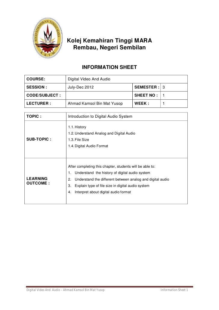 Kolej Kemahiran Tinggi MARA                            Rembau, Negeri Sembilan                                    INFORMAT...