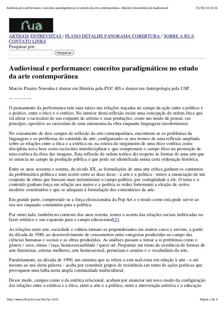Audiovisual e performance: conceitos paradigmáticos no estudo da arte contemporânea « Revista Universitária do Audiovisual...