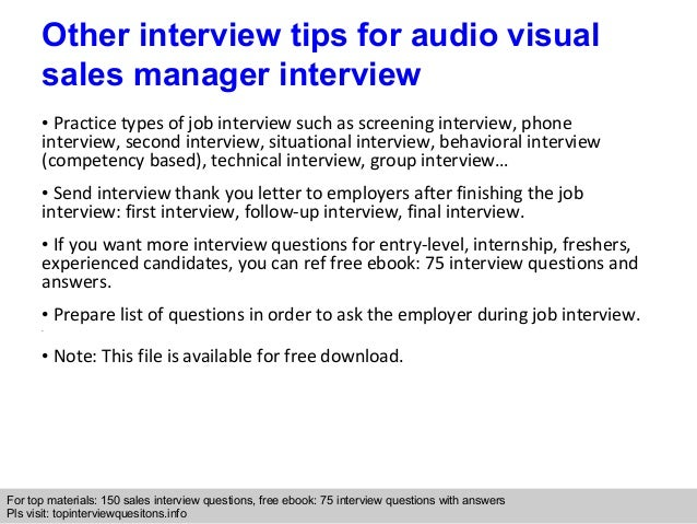 Audio visual sales manager interview questions and answers