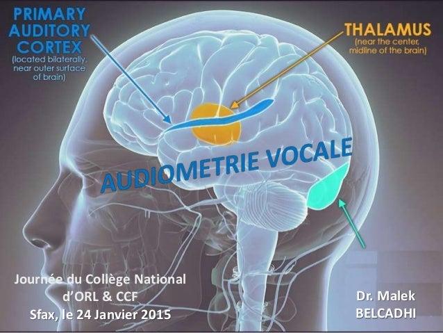 Journée du Collège National d'ORL & CCF Sfax, le 24 Janvier 2015 Dr. Malek BELCADHI