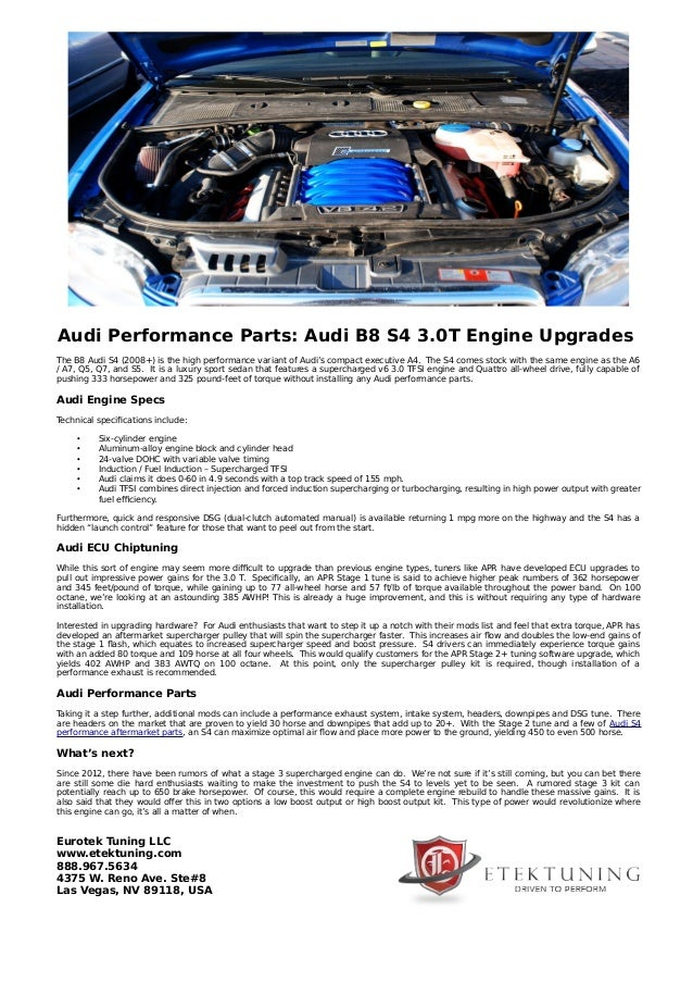 Audi Performance Parts: Audi B8 S4 3 0T Engine Upgrades