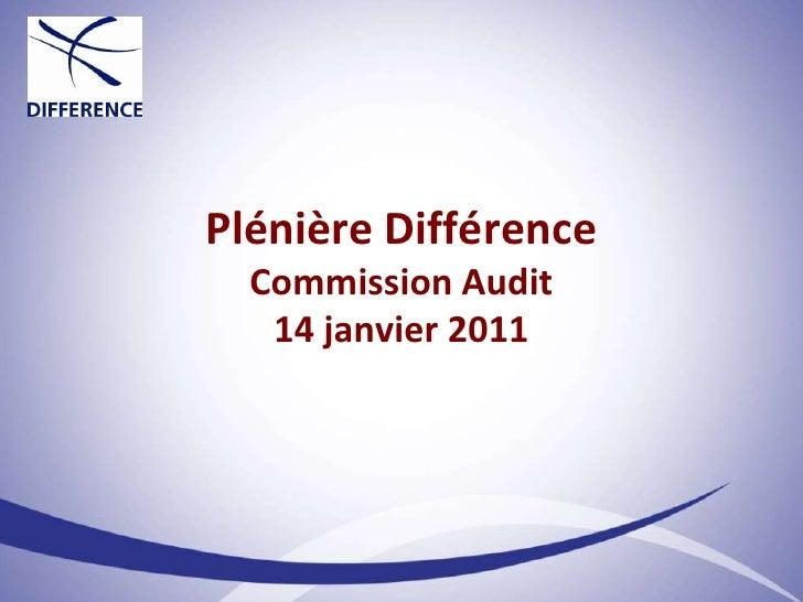 Plénière Différence Commission Audit 14 janvier 2011<br />