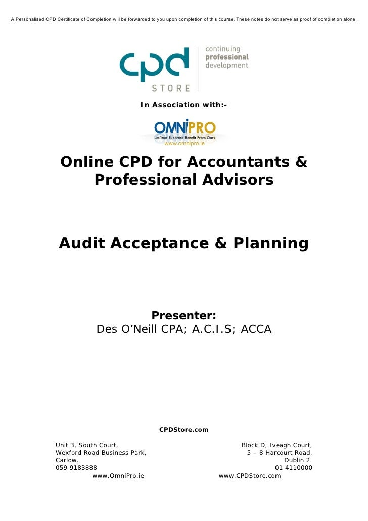 A Personalised CPD Certificate of Completion will be forwarded to you upon completion of this course. These notes do not s...