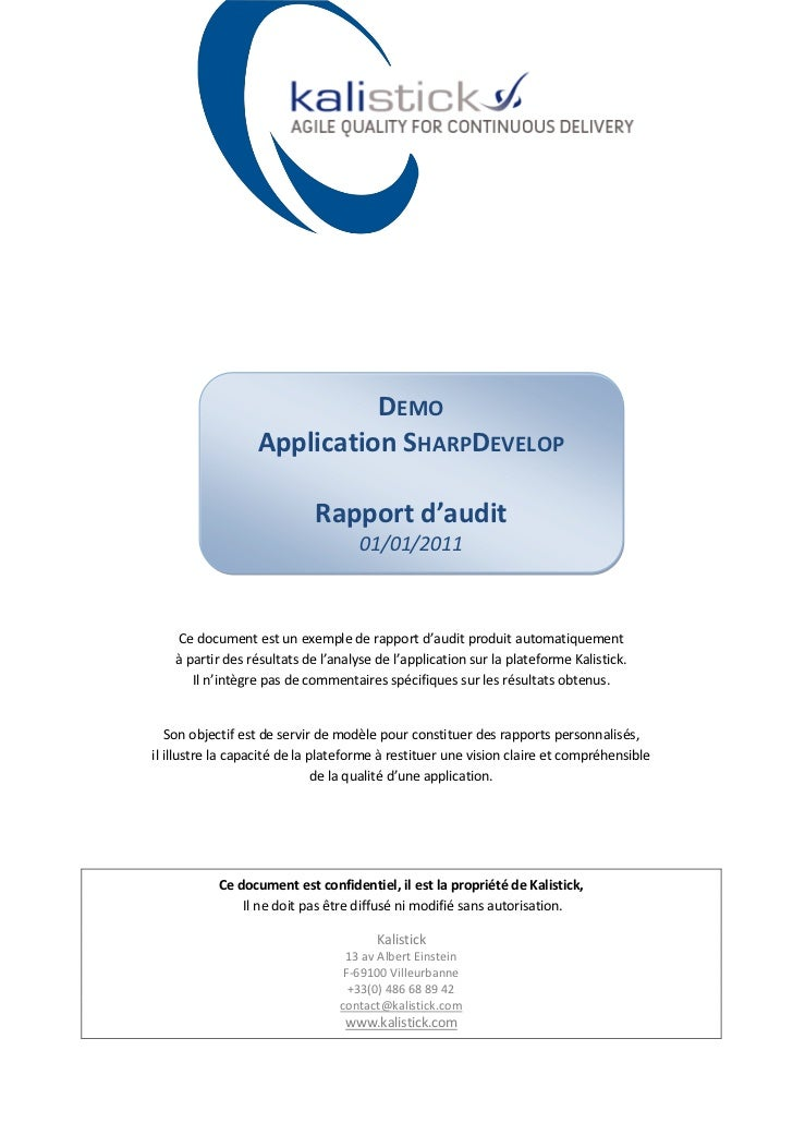 DEMO                  Application SHARPDEVELOP                             Rapport d'audit                                ...