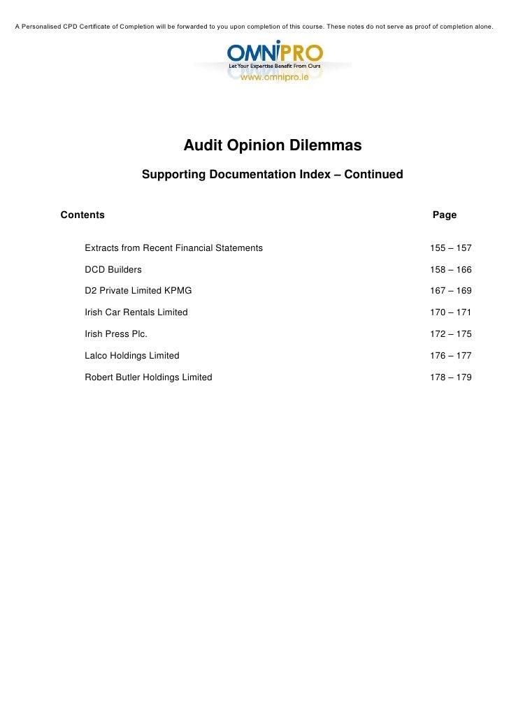 Cash Car Rentals >> Audit Opinion Dilemmas