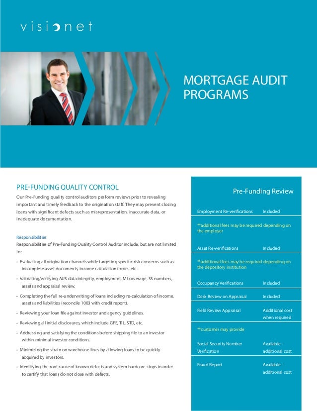 quality control in loan appraisal review Mortgage compliance checklists fullfill your mortgage lending regulation requirements our suite of mortgage compliance products includes the necessary tools to give your staff the upper hand in regulatory and consumer compliance through assistance in day-to-day operations and management of your financial institution's mortgage lending portfolio.