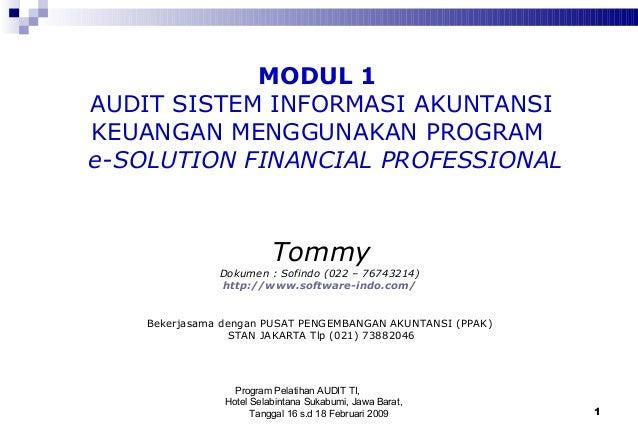 Program Pelatihan AUDIT TI, Hotel Selabintana Sukabumi, Jawa Barat, Tanggal 16 s.d 18 Februari 2009 1 MODUL 1 AUDIT SISTEM...