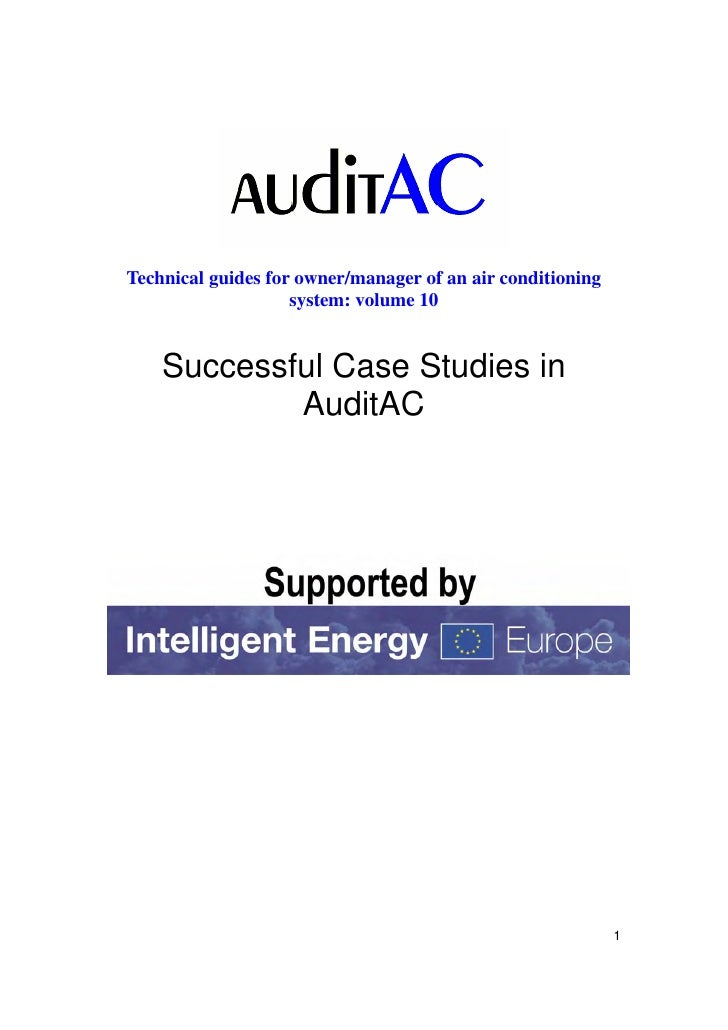 Technical guides for owner/manager of an air conditioning                    system: volume 10    Successful Case Studies ...
