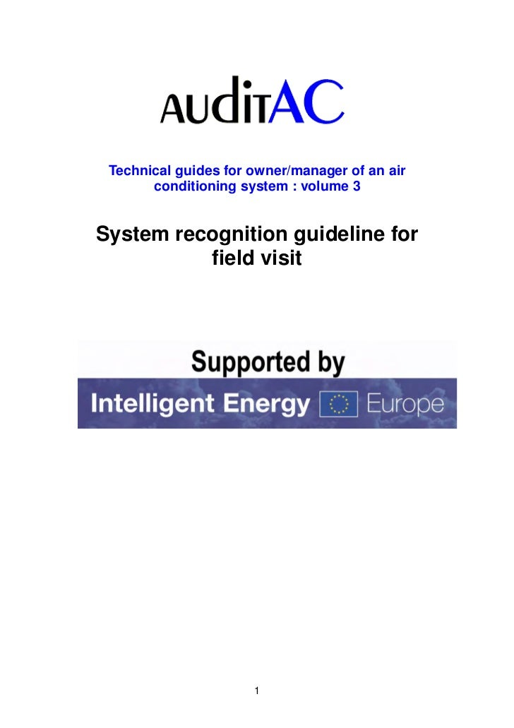 Technical guides for owner/manager of an air       conditioning system : volume 3System recognition guideline for         ...
