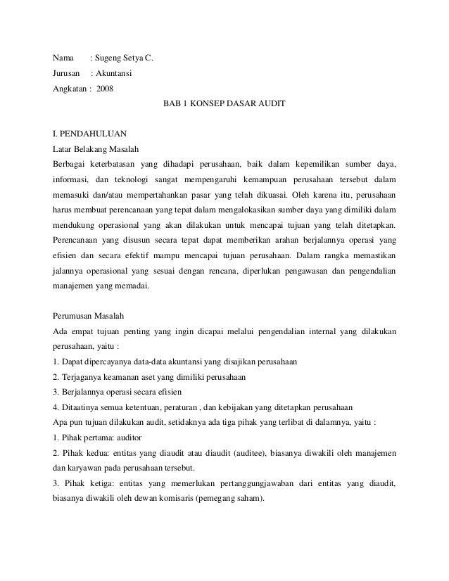 Nama      : Sugeng Setya C.Jurusan   : AkuntansiAngkatan : 2008                               BAB 1 KONSEP DASAR AUDITI. P...