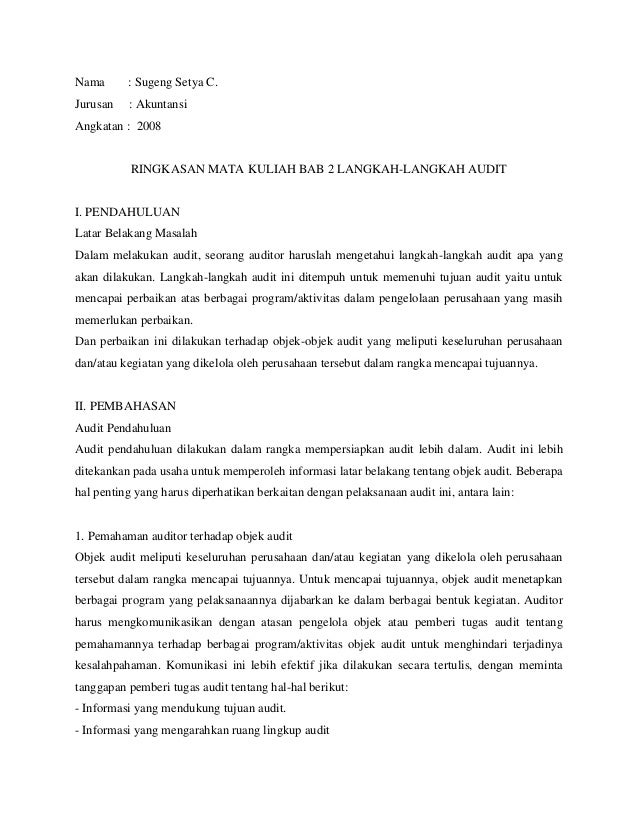 Nama      : Sugeng Setya C.Jurusan   : AkuntansiAngkatan : 2008           RINGKASAN MATA KULIAH BAB 2 LANGKAH-LANGKAH AUDI...