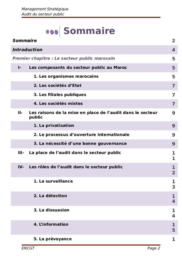 Management Stratégique Audit du secteur public Sommaire SommaireSommaire 2 IntroductionIntroduction 4 Premier chapitre : L...