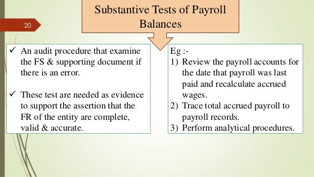 audit auditing and substantive tests
