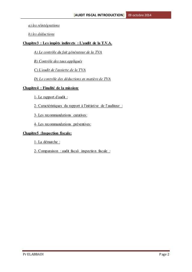 Audit fiscal cours/1er Chapitre: Démarche de l'Audit Fiscal Slide 2