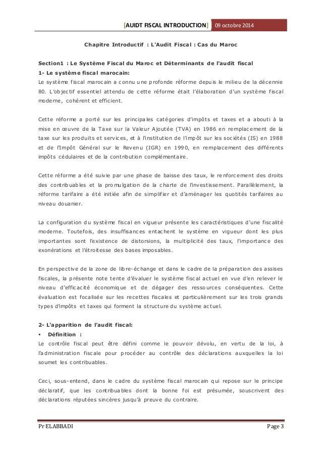 Audit fiscal cours/1er Chapitre: Démarche de l'Audit Fiscal Slide 3