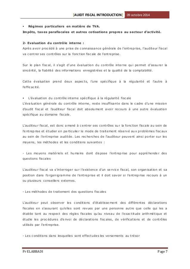 [AUIDT FISCAL INTRODUCTION] 09 octobre 2014   Régimes particuliers en matière de TVA.  Impôts, taxes parafiscales et autr...