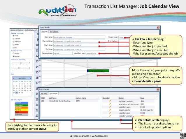 auditgen  operational audit features