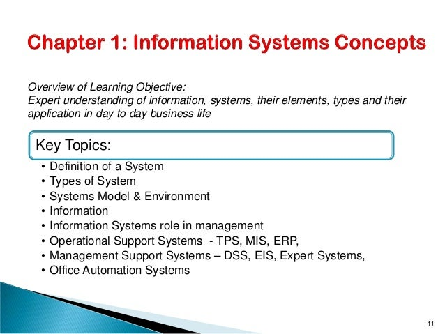 Key Topics: • Definition of a System • Types of System • Systems Model & Environment • Information • Information Systems r...