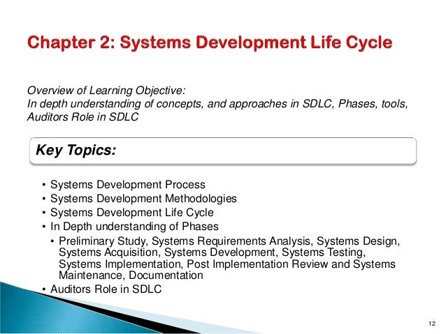 Key Topics: • Systems Development Process • Systems Development Methodologies • Systems Development Life Cycle • In Depth ...