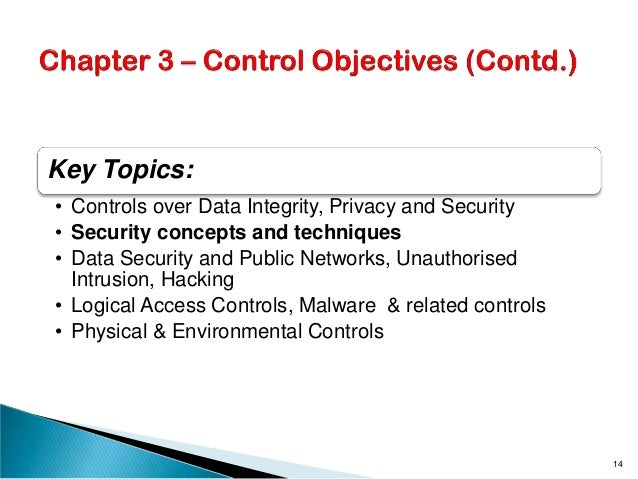 Key Topics: • Controls over Data Integrity, Privacy and Security • Security concepts and techniques • Data Security and Pu...