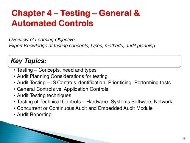 Key Topics: • Testing – Concepts, need and types • Audit Planning Considerations for testing • Audit Testing – IS Controls...