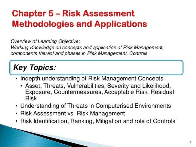 Key Topics: • Indepth understanding of Risk Management Concepts • Asset, Threats, Vulnerabilities, Severity and Likelihood...