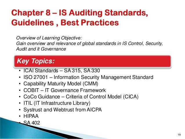 Key Topics: • ICAI Standards – SA 315, SA 330 • ISO 27001 – Information Security Management Standard • Capability Maturity...