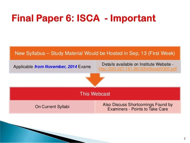 This Webcast On Current Syllabi Also Discuss Shortcomings Found by Examiners - Points to Take Care New Syllabus – Study Ma...