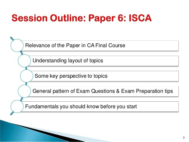 Relevance of the Paper in CA Final Course Understanding layout of topics Some key perspective to topics General pattern of...