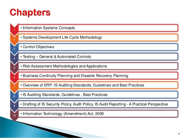 1 • Information Systems Concepts 2 • Systems Development Life Cycle Methodology 3 • Control Objectives 4 • Testing – Gener...