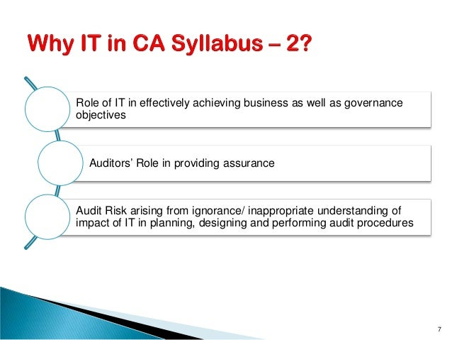 Role of IT in effectively achieving business as well as governance objectives Auditors' Role in providing assurance Audit ...