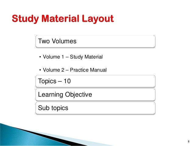 Two Volumes • Volume 1 – Study Material • Volume 2 – Practice Manual Topics – 10 Learning Objective Sub topics 8