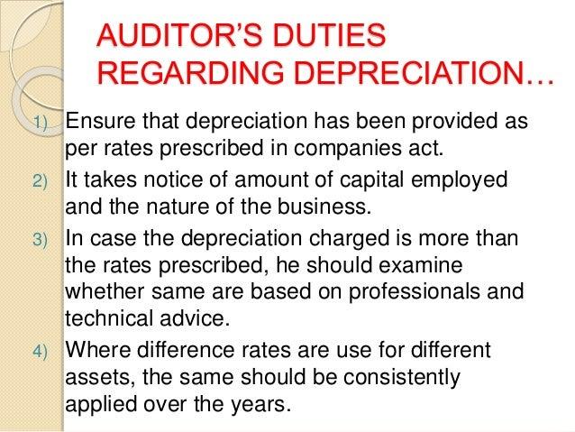 auditors duties regarding depreciation