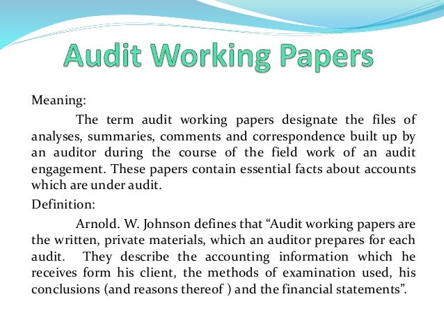 meaning of audit working papers
