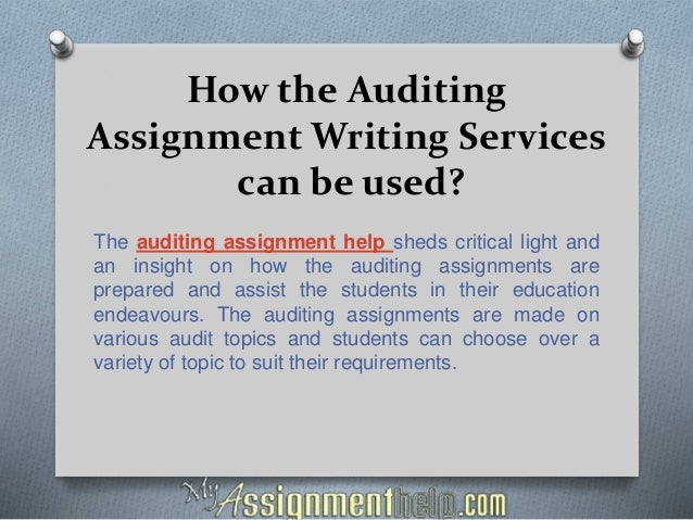 auditing assignment 2 essay example Internal auditors in banking - assignment example on in assignment sample auditing is the inspection and verification of the accuracy of financial records and.