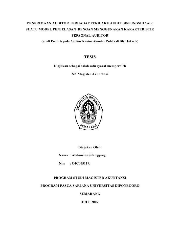 PENERIMAAN AUDITOR TERHADAP PERILAKU AUDIT DISFUNGSIONAL:SUATU MODEL PENJELASAN DENGAN MENGGUNAKAN KARAKTERISTIK          ...