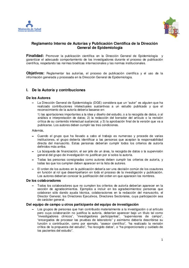 Reglamento Interno de Autorías y Publicación Científica de la Dirección                           General de Epidemiologia...