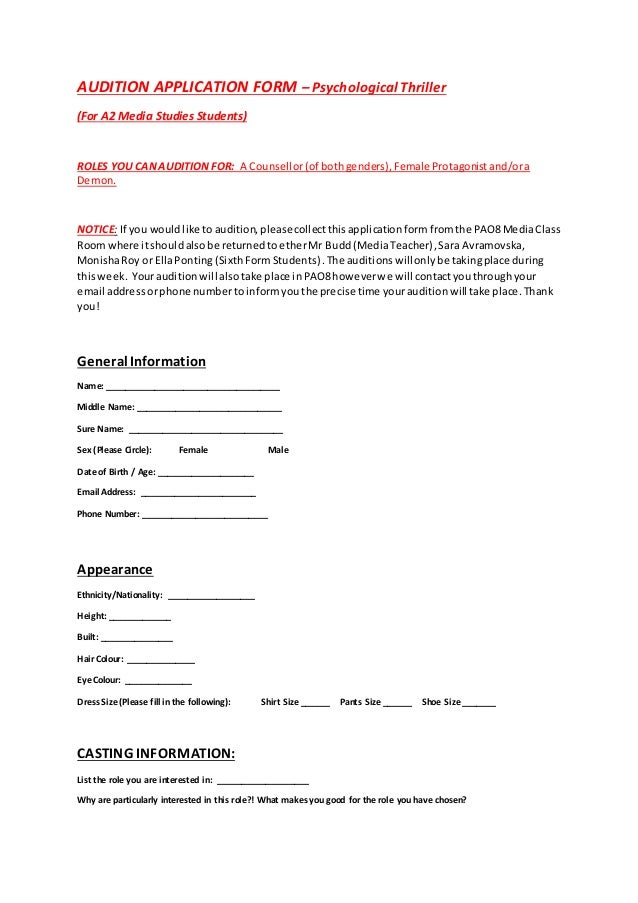 Audition Application Form