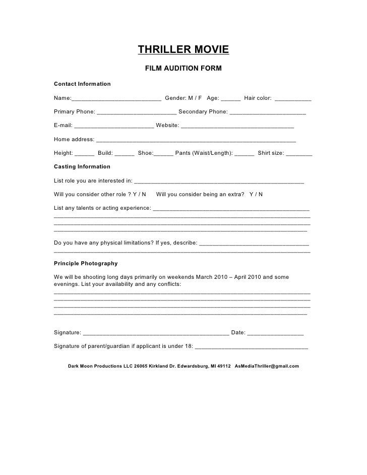 Audition form for Acting contract template