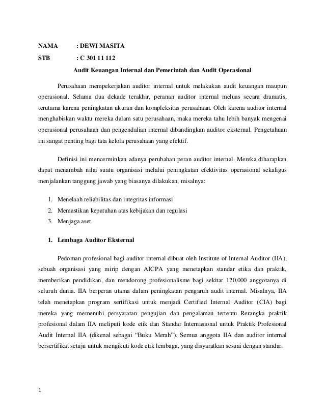 Ringkasan Materi Audit Keuangan Internal Dan Pemerintah Dan Audit Ope