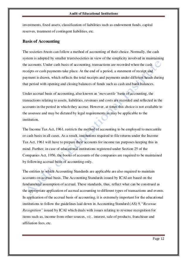 audit of educational institutions audit