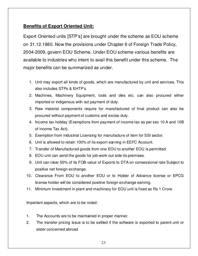 export oriented unit scheme Manual – 5 the export oriented units (eou) scheme units undertaking to exports their entire production of goods and services may be setup under the export.