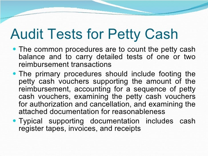 audit of imprest petty cash
