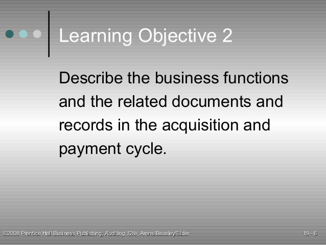 audit of the acquisition and payment cycle Audit of the acquisition and payment cycle chapter 18 learning objective 1  identify the accounts and the classes of transactions in the.