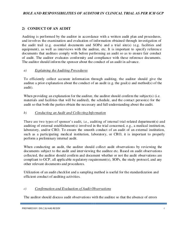 role and responsibilities of auditor