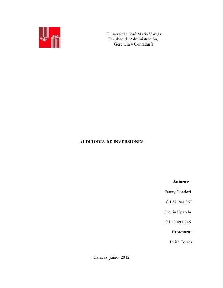 Universidad José María Vargas             Facultad de Administración,                Gerencia y ContaduríaAUDITORÍA DE INV...