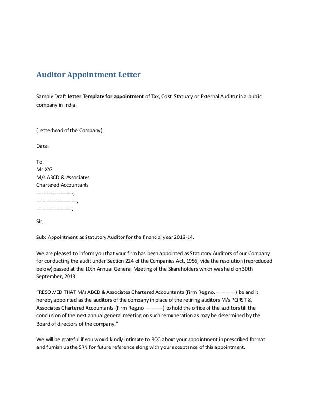 auditor appointment letter sample draft letter template for appointment of tax cost