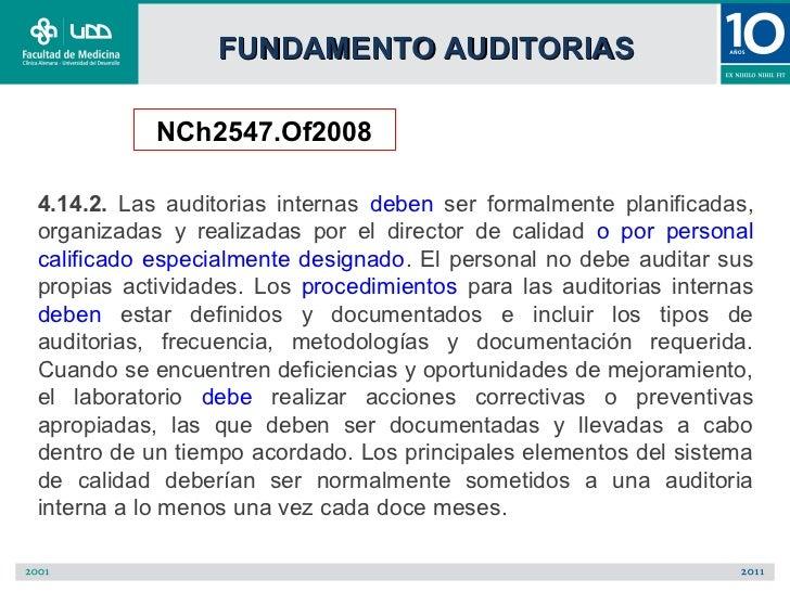 FUNDAMENTO AUDITORIAS           NCh2547.Of20084.14.2. Las auditorias internas deben ser formalmente planificadas,organizad...