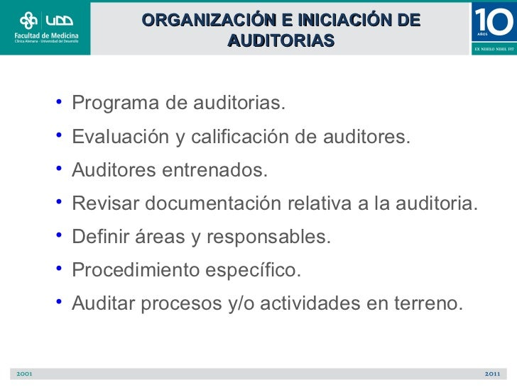 ORGANIZACIÓN E INICIACIÓN DE                 AUDITORIAS• Programa de auditorias.• Evaluación y calificación de auditores.•...